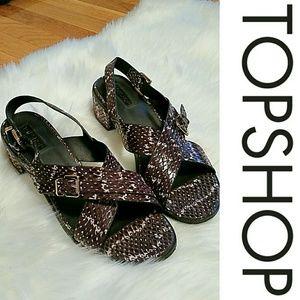 """Topshop Purple Snakeskin 1"""" Block Heel Sandal"""